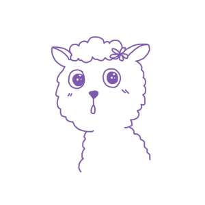 Alpaka mit Blume im Haar Tier