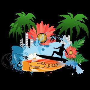 Surfersport mit Palmen und Blumen