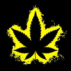 Drogen Cannabis Gelb und Schwarz Umriss