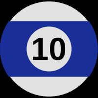 blaue Billardkugel mit der zahl 10
