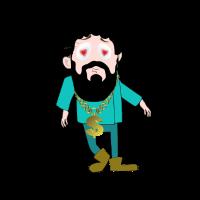 Verliebter Cartoon Figur mit Bart und Goldkette
