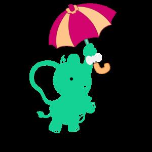 Grünes Tier mit Schirm