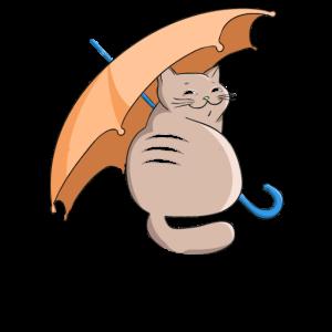 Lächelnde Katze mit Regenschirm