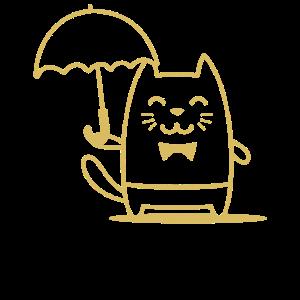 Kitty mit Regenschirm