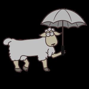 Ziege mit Regenschirm