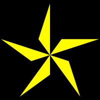 Stern schwarz gelb 5 Zacken