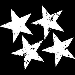 4 Sterne weiss gesprenkelt zeitlos