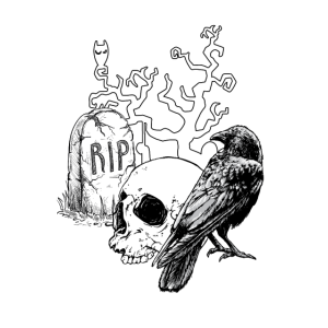 Halloween Friedhof RIP Totenkopf Rabe Tot Grab