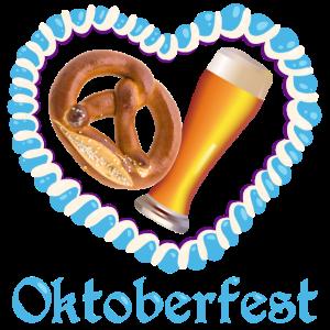 Oktoberfest Brezel und Bier im bayerischem Herzen