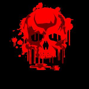 Roter Totenkopf Totenschädel Skull Skelett Graphik