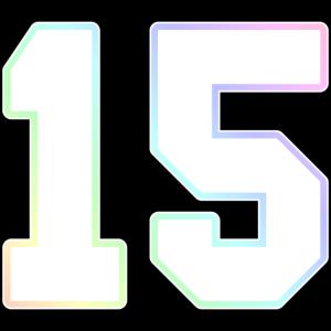 15 Zahl Ziffer College Regenbogen