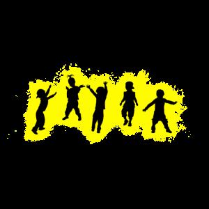 Kinder Party Gelb und Schwarz Umriss