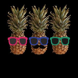 Lustige Coole Ananas mit Sonnenbrille und Bart