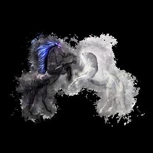 Pferde schwarz hell glühend