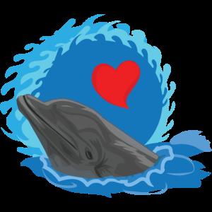 Fisch Delfin Tümmler Säugetier mit Herz Tierliebe