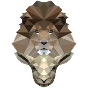 Löwe & Lamm - Lion & Lamb - Poly Design - Jesus