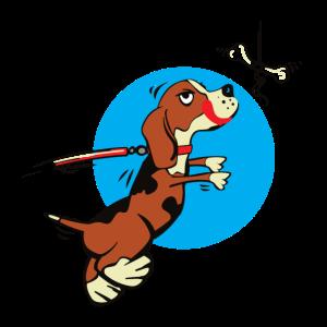 Hund Hündchen springt nach Knochen Geschenkidee