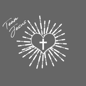 Team Jesus Christus Tshirt mit Kreuz und Herz