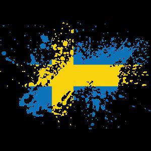 Schweden Flagge Klecks