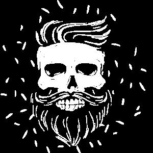 Hipster Totenkopf mit hipster Haare und Bart