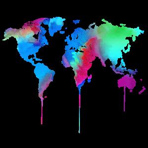 Weltkarte World Aquarell Watercolor Wasserfarbe