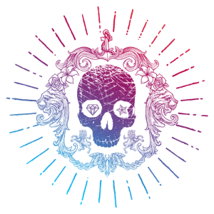 Edel Vintage Totenkopf Farbverlauf bunt Skull Emo