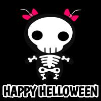 Happy Helloween Skull Skelett Kawaii Zöpfe