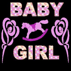 Baby Girl Rosen und Schaukelpferd Geschenk Design