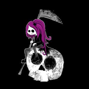 Gothic Mädchen mit Sense sitze auf Skull Halloween