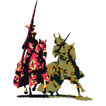 zwei edle Ritter zu Pferd mit Lanze und Schwert