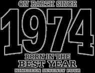 Jahrgang 1970 Geburtstagsshirt: On Earth since 1974 (black oldstyle)