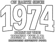 Jahrgang 1970 Geburtstagsshirt: On Earth since 1974 (white oldstyle)