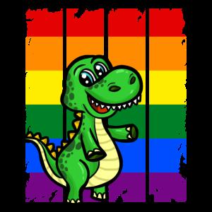 LGBT Dino Dinosaurier Regenbogen Fahne