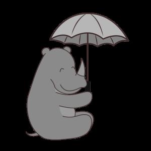 Nashorn mit Regenschirm