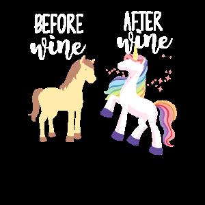 Einhorn vor Wein nach dem Wein Geek Geschenk