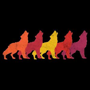 Wolf Wölfe Wolfsrudel Heulend Hunde Retro Geschenk