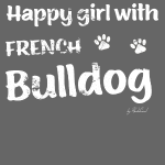 Happy girl with french bulldog
