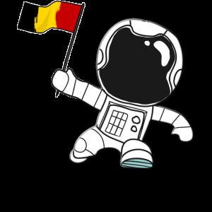 Belgien Astronaut belgische Flagge Cartoon Belgier