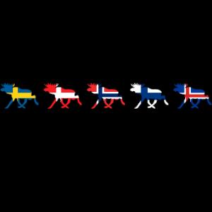 SCANDINAVIA ELK FLAGS - Moose Elche Nordic