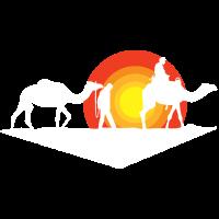 Travel mit Kamelen in der Wüste bei der Karavane