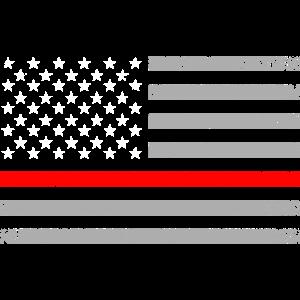 USA Flag Thin Red Line Feuerwehr Feuerwehrmann