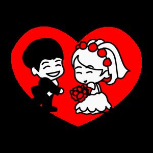 Hochzeitspaar im Herz | Blumenstrauß