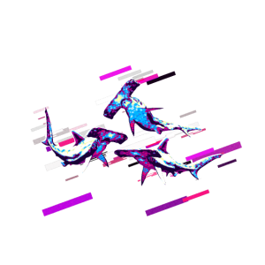 Hai Hammerhai 80er Retro Violett