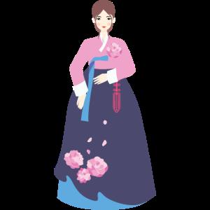 Frau in Hanbok Lila - Korea, Asien, Geschenkidee
