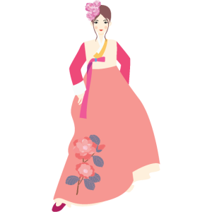 Frau in Hanbok Rosa - Korea, Asien, Geschenkidee