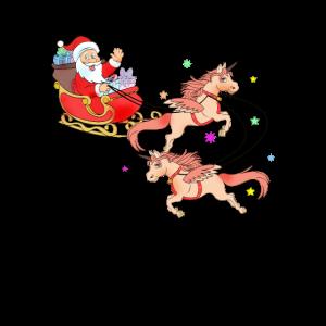Weihnachtsmann Einhorn lustig Weihnachtsgeschenk