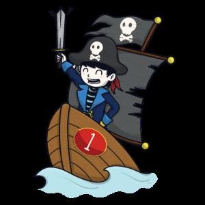 Pirat auf Piratenschiff - Zahl 1. Geburtstag