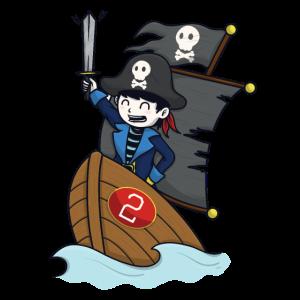 Pirat auf Piratenschiff - Zahl 2. Geburtstag