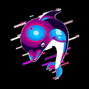 Delphin Tier 80er Retro Violett