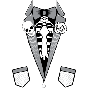 Tuxedo Skelett Totenkopf Halloween Anzug Tshirt